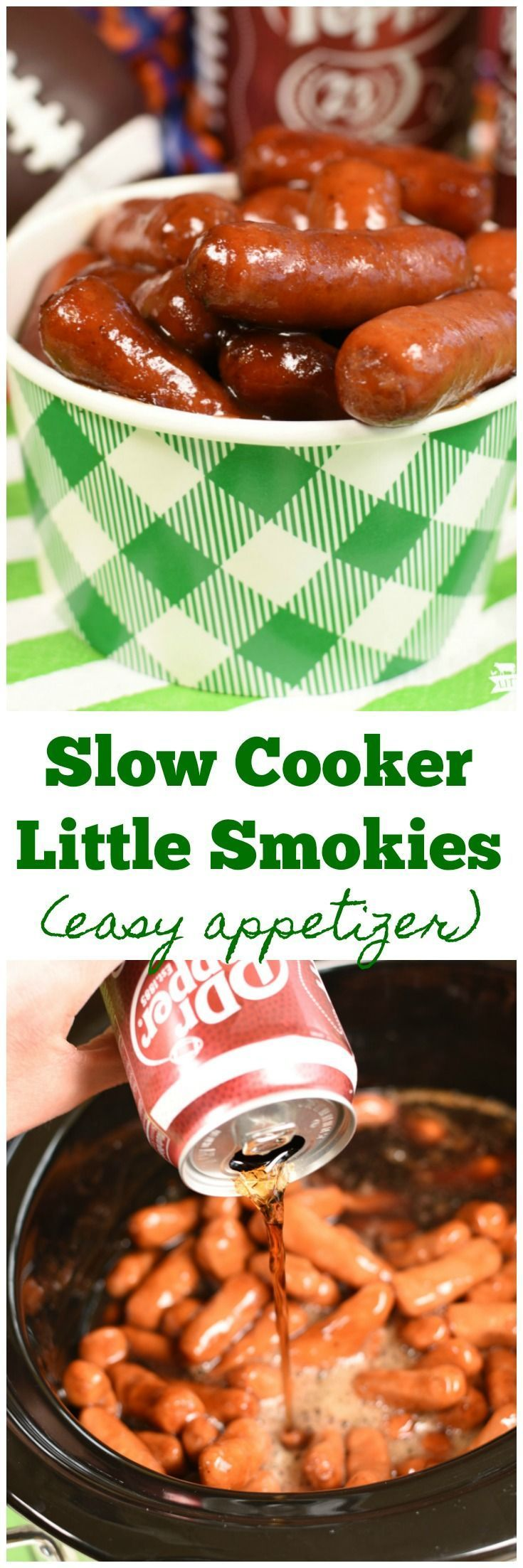 Slow Cooker Little Smokies are the best appetizer! Super easy too! Parties. Finger Food. Appetizers! #AD #HomeGateChamp @drpepper @walmart