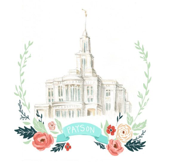 Payson Temple Watercolor, flower wreath design, printable art, digital file, LDS art, Mormon drawing, latter day saint artwork, FHE,
