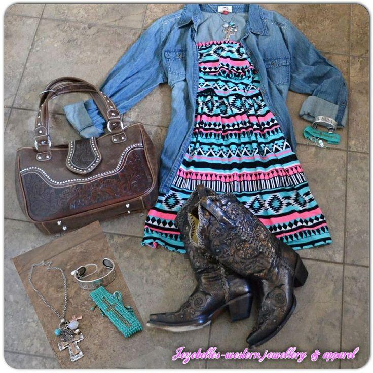 Aztec dress boots and jean jacket www.facebook.com/jezebelles