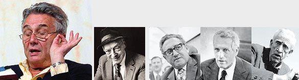 "Da sinistra: Alberto Arbasino, Saul Bellow, Henry Kissinger, Paul Newman e J. D. Salinger. I ""America o cara"""
