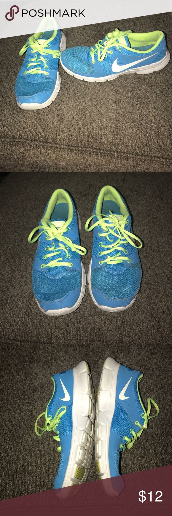Nike Flex Running Shoes Nike flex running shoes in blue and neon green. Good condition slight signs of wear but in great shape have a lot of life left in them. I bought them and maybe wore them 15 times. Nike Shoes Athletic Shoes
