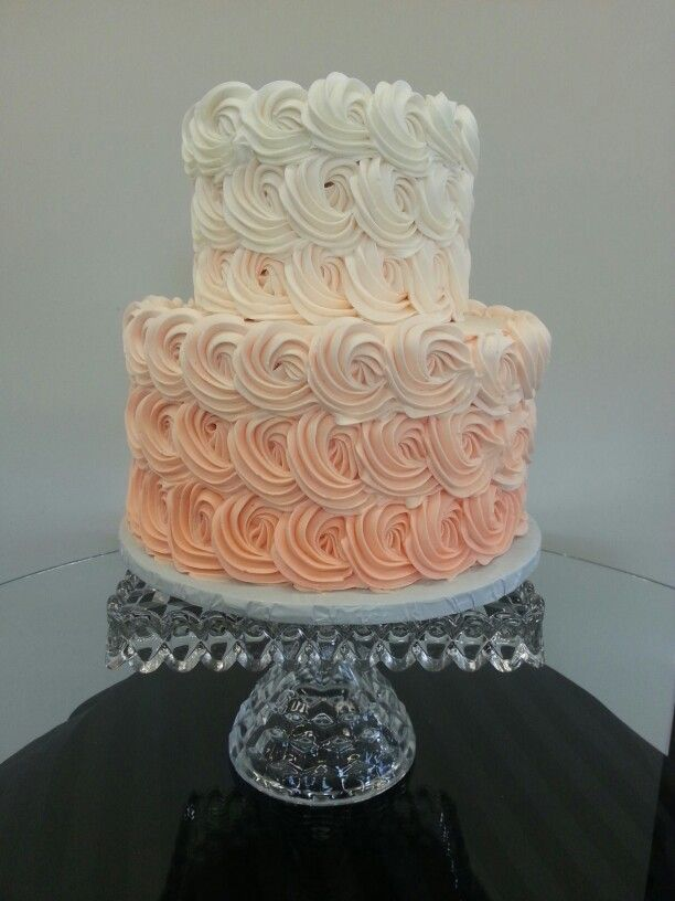 Ombre coral 2 tier wedding cake  Cake Chic Studio  Sweet