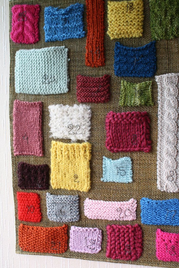 Advent calendar with knit swatches, great idea!