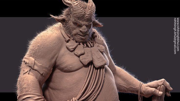 Orc Warrior, Rohit Singh on ArtStation at https://www.artstation.com/artwork/orc-103