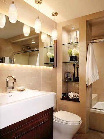 Design a Bathroom Lighting Plan    The most critical area for bathroom lighting is the mirror. Ideally you should have wall-mount lights at each side of the mirror at about eye level, with a third light above the mirror. This arrangement illuminates your face from both sides and above, eliminating shadows.