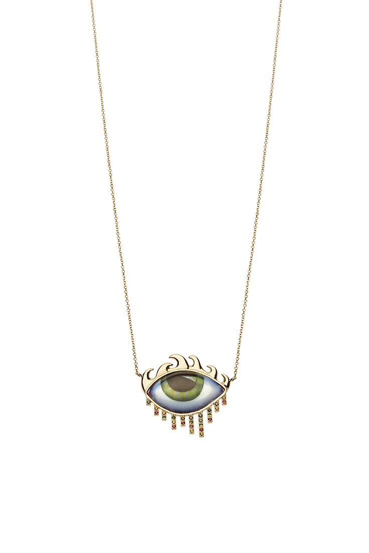 "New ""Tu Es Partout"": LA to NY. Yellow gold necklace with green eye, green & lemon Diamonds , Tsavorites and orange Sapphires  www.lito-jewelry.com"