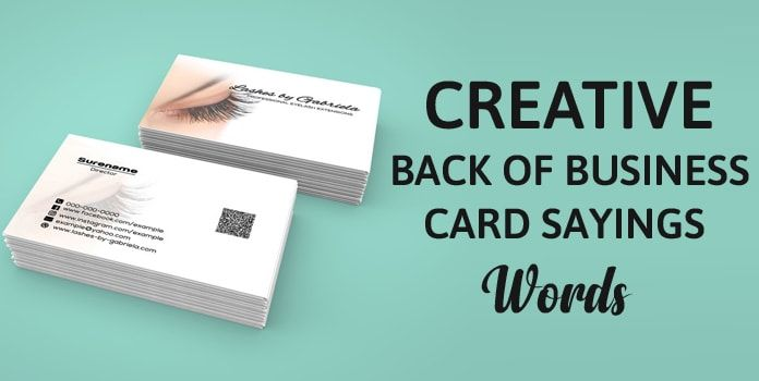 Creative Back Of Business Card Sayings Best Words Quotes Card Sayings Business Card Wording Business Quotes