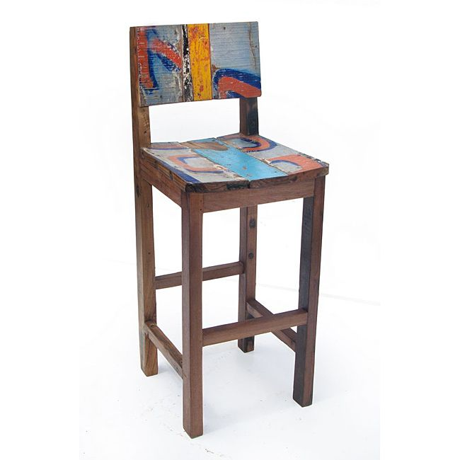From Overstock Com  C2 B7 These Handcrafted Bar Stools Are Made Entirely Of Reclaimed Wood Down To The Nails