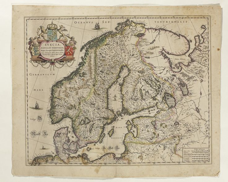 Karta över de nordliga kungarikena, Skandinavien (med de östliga provinserna), 1700-tal./ Map of the Northen Kingdoms, Scandinavia (with the Eastern provinces), 18th century.