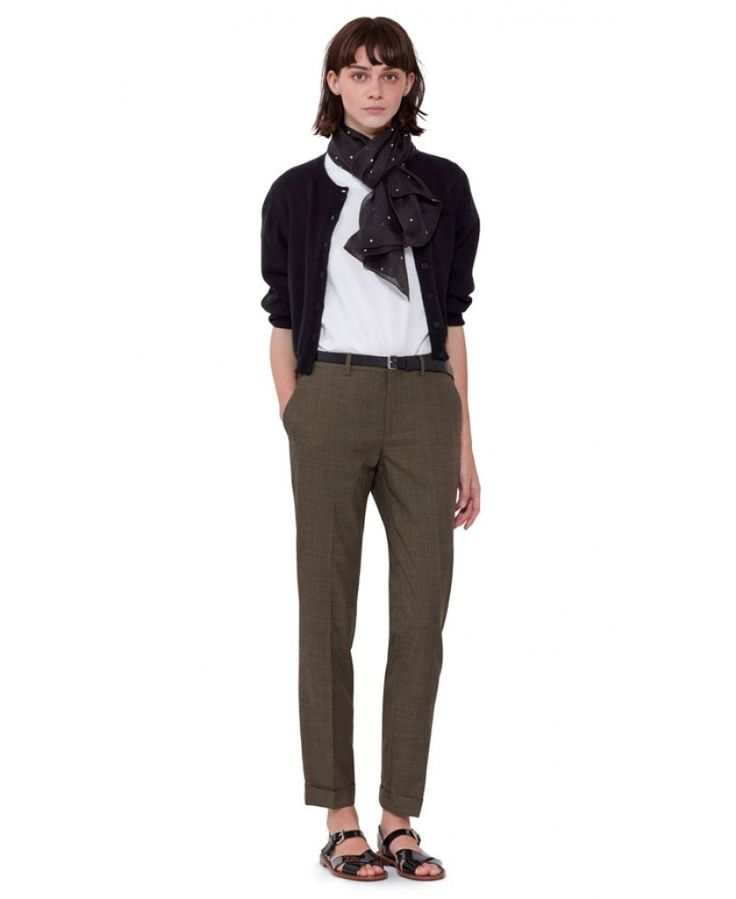 WOMENS STRAIGHT CUT, CROPPED CUFFED TROUSER. NARROW WAISTBAND WITH CONCEALED TICKET POCKET IN FRONT. ZIP FLY, BUTTON TAB, HOOK AND BAR FASTENING. BACK HAS SPLIT DETAIL, A JET POCKET WITH BUTTON FASTENING AND A FLAP POCKET.  100% SUPER 120S WOOL  DRY CLEAN