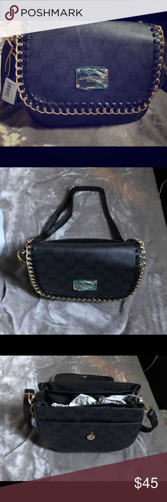 New Christine black & gold crossbody Bebe purse Brand new. Size: 9 inches x 8 inches. Firm with price. Material: faux leather. Super cute and no flaws. trades and low ballers. bebe Bags Crossbody Bags