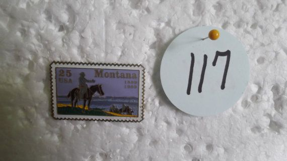 $5 2017 Please Note: this price includes shipping  Montana Postage Stamp Tie PIn  Vintage