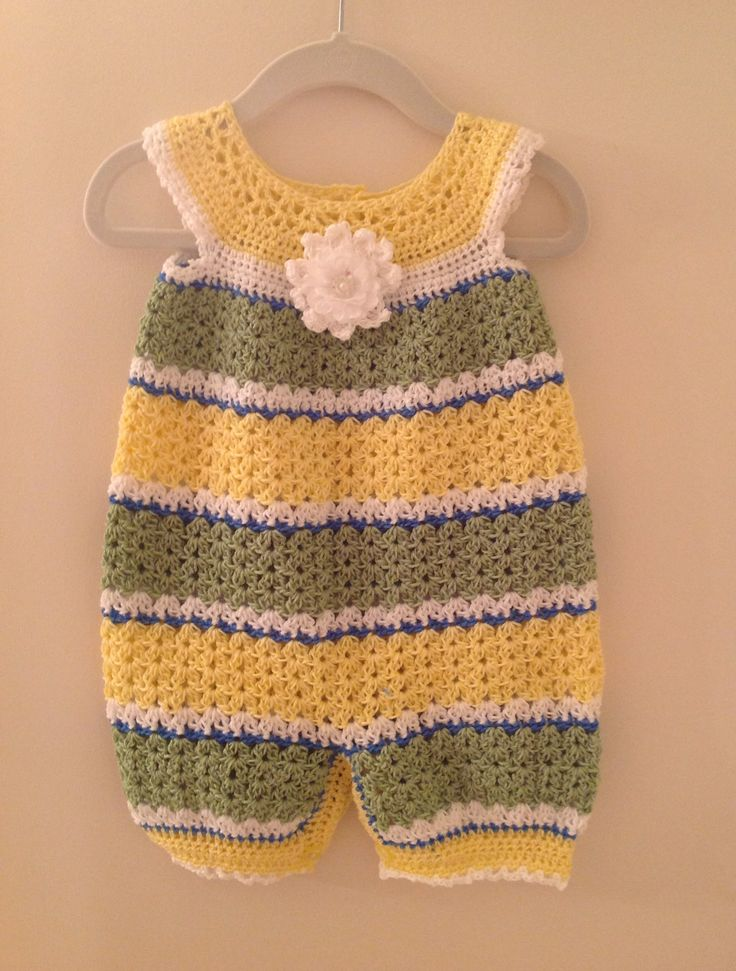 Creator provides no pattern for this romper. She sells them already made. Crochet infant romper 9-12 months$30