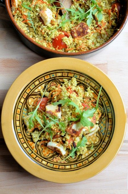Lavender and Lovage   5:2 Diet Spiced Moroccan Cauliflower Couscous – Tabbouleh with Halloumi (56 calories)   http://www.lavenderandlovage.com