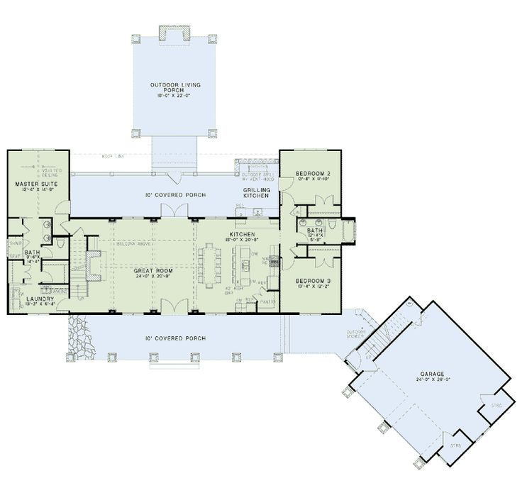First Floor Plan of Country   Craftsman   Farmhouse  House Plan 82085