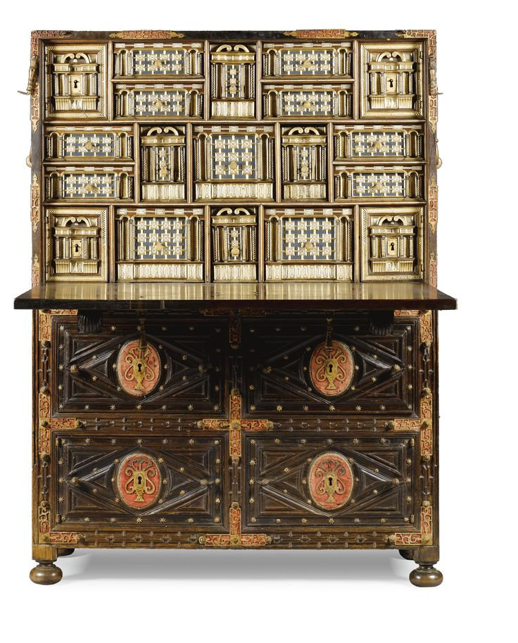A RARE SPANISH IRON-MOUNTED BONE INLAID PAINTED AND PARCEL-GILT WALNUT VARGUEÑO ON STAND /  MID 17TH CENTURY