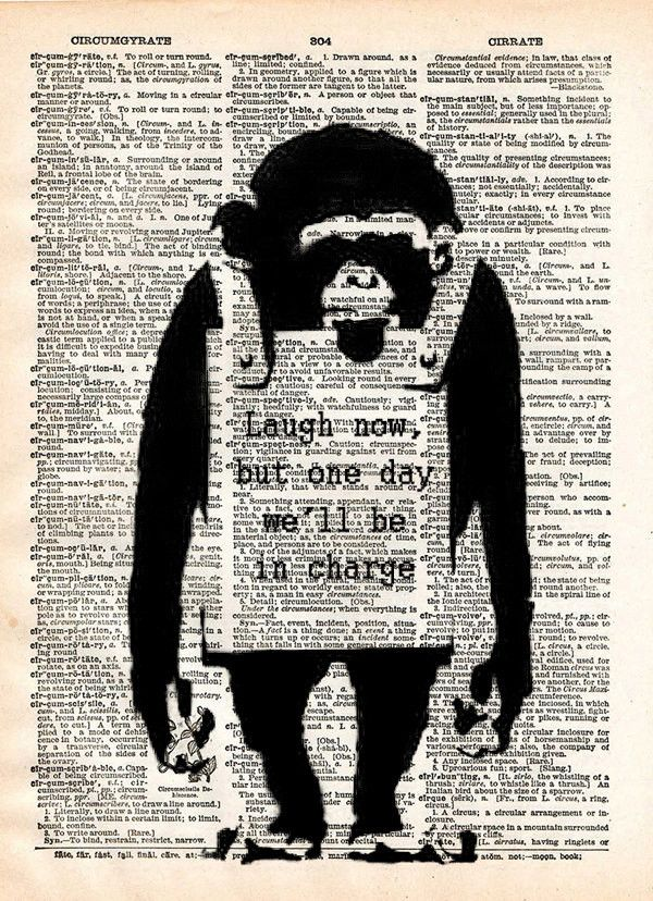 Banksy wall art, Laugh now, monkey print, dictionary art print