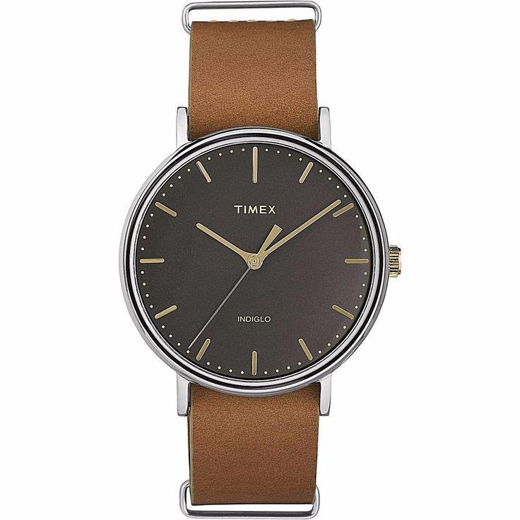 Timex Analog Easy Reader Unisex Watch With Brown Leather Slip-Thru Strap New #Timex