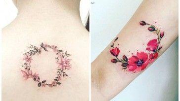 Delicatissimi tatuaggi con ghirlande di fiori 27