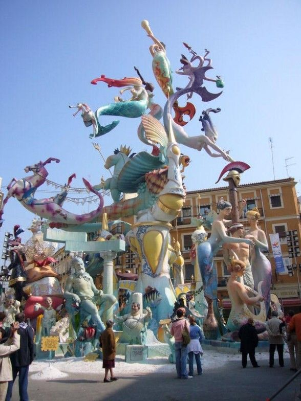 Las Fallas, Valencia, Spain. These structures are everywhere but all will end up in flames in March