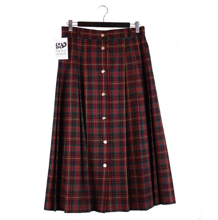 Vintage 80s, 90s, Tartan, Kilt, Red, Green, Skirt, 80s clothing, 90s clothing, tartan kilt, full skirt, tartan fabric, 90s grunge, unisex by FannyAdamsVC on Etsy