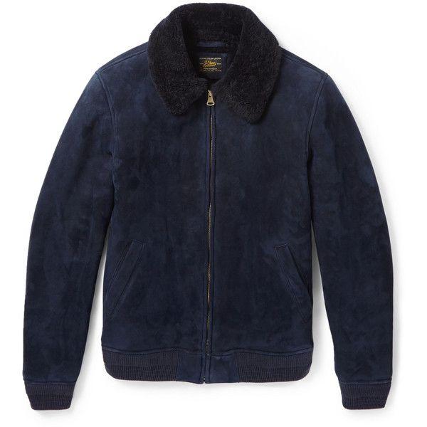 J.Crew Shearling Bomber Jacket (€1.330) found on Polyvore featuring men's fashion, men's clothing, men's outerwear, men's jackets, jackets, menswear, blue, mens shearling jacket, mens zipper jacket and j crew men's outerwear