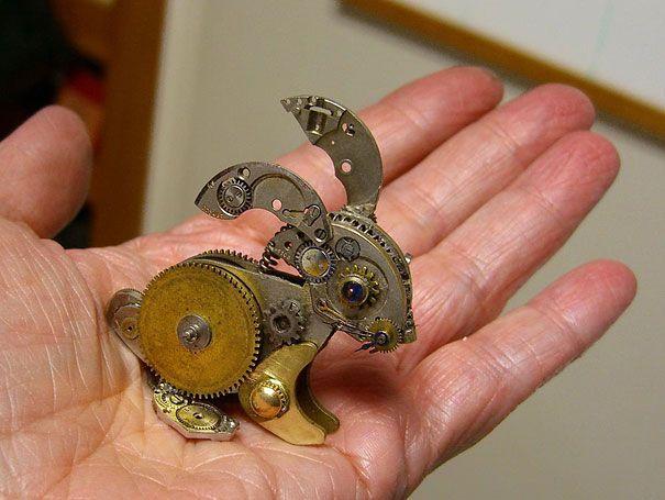 Recyclage de pièces de vieilles montres en sculpture   sculptures steampunk recyclage de pieces de vieilles montres 7