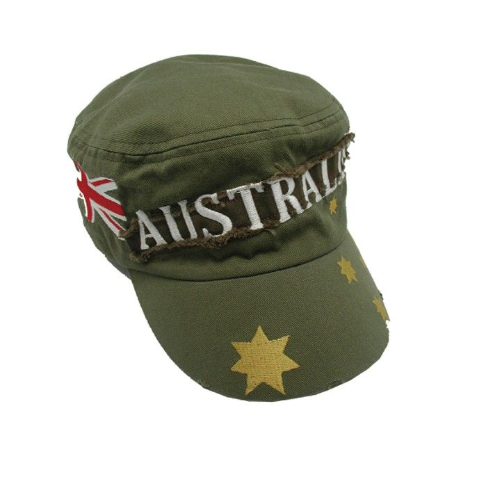Australian Day Flag Cotton Army Cap Green Stars Costume