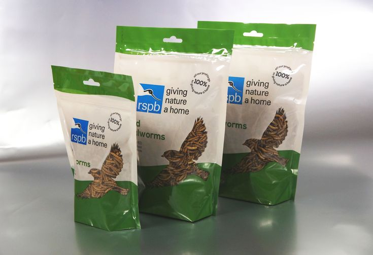 RSPB Dried Mealworm Bespoke Stand-up Pouch. #Surepak #Packaging #Birds