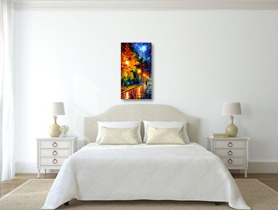 If you are looking for a romantic moon painting, Blue Moon by the renown artist Leonid Afremov is probably what you need. This modern wall art will decorate any room to highlight your taste.    Title: Blue Moon Size: 20 x 36 (50 cm x 90 cm) Condition: Excellent Brand new Gallery Estimated Value: $8,000 Type: Original Recreation Oil Painting on Canvas by Palette Knife  This is a recreation of a piece which was already sold.  Its not an identical copy, its a recreation of an old subject. This…