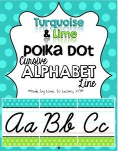 Need a cursive alphabet line to match your green and blue classroom decor? Try this cursive alphabet line in a turquoise & lime polka dot theme. Display the posters separate, or put them together to form a fun alphabet line. This digital download contains:- 1 student cursive picture dictionary- 26 full-page color alphabet posters- 26 half-page color alphabet postersUse the full-page posters for a BIG impact, or use the half-page posters to save on wall space!Print these out, laminate and ...