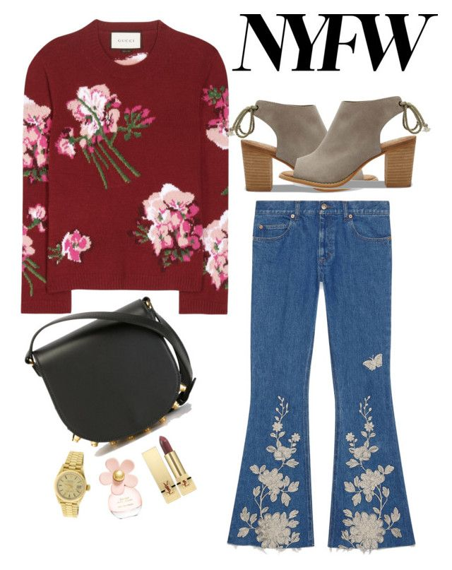 """ready to nyfw"" by egaemgyu on Polyvore featuring Gucci, TOMS, Alexander Wang, Marc Jacobs, Yves Saint Laurent and Rolex"
