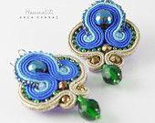Earrings sapphire gold grin soutache