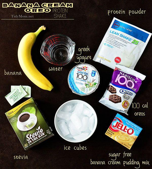How to make a Banana Cream Oreo Protein Shake at TidyMom.net