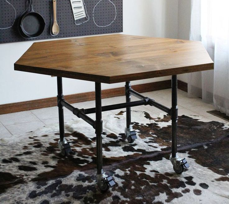 DIY Honeycomb Table With Industrial Pipe Legs   A Beautiful Mess