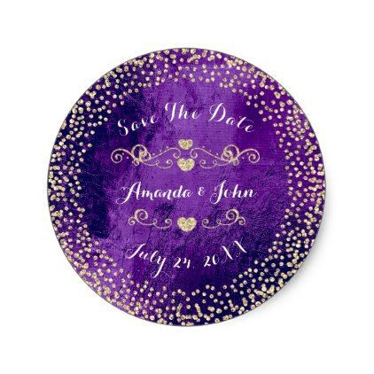 Gold Rose Glitter Save the Date Purple Plum Glass Classic Round Sticker - save the date gifts personalize diy cyo