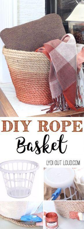 This beautiful DIY Metallic Ombre Basket is made out of a dollar store laundry basket! #ropebasket #jutebasket