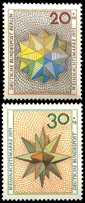 Deutsche Bundespost : : Polyhedron designs, (Christmas) semi-postal stamps : :  20 + 10 Berlin; 30 + 15 Germany : : issued in 1973