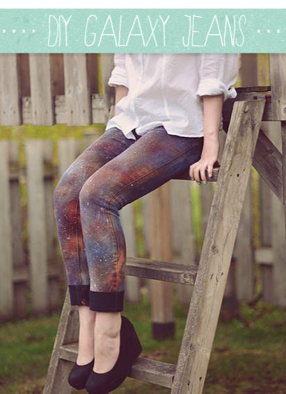 DIY Galaxy Jeans. Cool! #diy #fashion #jeans