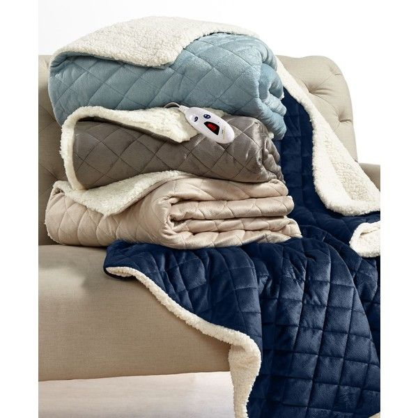 Biddeford Diamond Quilted Reversible Faux Sherpa Heated Throw ($96) ❤ liked on Polyvore featuring home, bed & bath, bedding, blankets, light blue, sherpa bedding, blue baby blanket, biddeford electric throw, light blue blanket and biddeford electric blanket