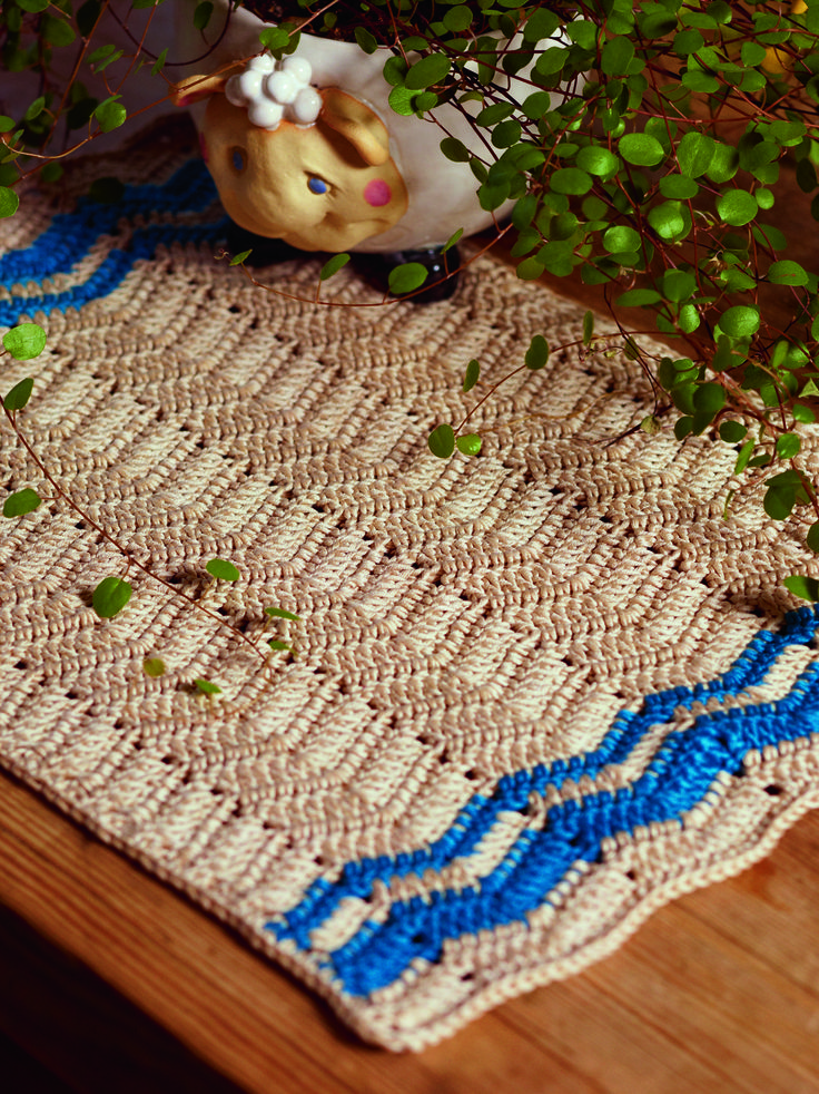 Chevron Placemat from Crochet for the Kitchen by Tove Fevang. Over 50 Patterns for Placemats, Potholders, Hand Towels, and Dishcloths Using Crochet and Tunisian Crochet Techniques.