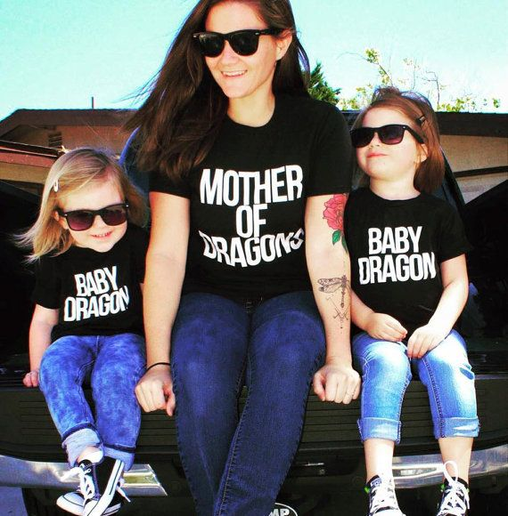 Mother of dragons Family Matching Outfits Short-sleeved T-shirt Family Look mother and daughter clothes  Game of Thrones