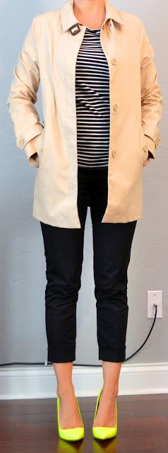 LOVE THIS: striped shirt, black cropped pants, tan trench, neon yellow shoes   Outfit Posts