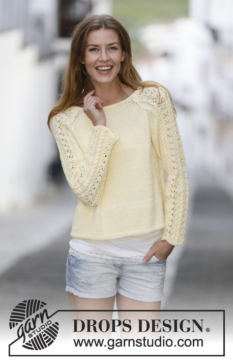 "Knitted DROPS jumper with lace pattern and raglan in ""Muskat"". Size: S - XXXL. Free pattern by DROPS Design."