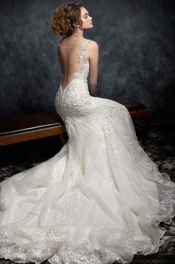 Kenneth Winston Style 1751 | beaded embroidered wedding dress with low illusion back and beaded straps | luxurious bridal gown | mermaid #weddingdress
