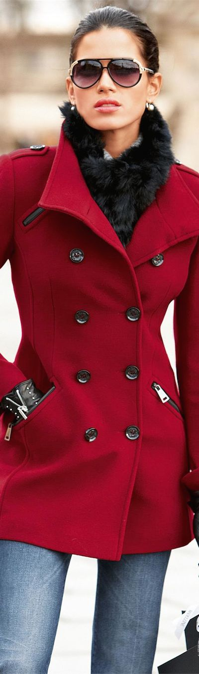the perfect red jacket; love this but I wouldn't wear jeans with it