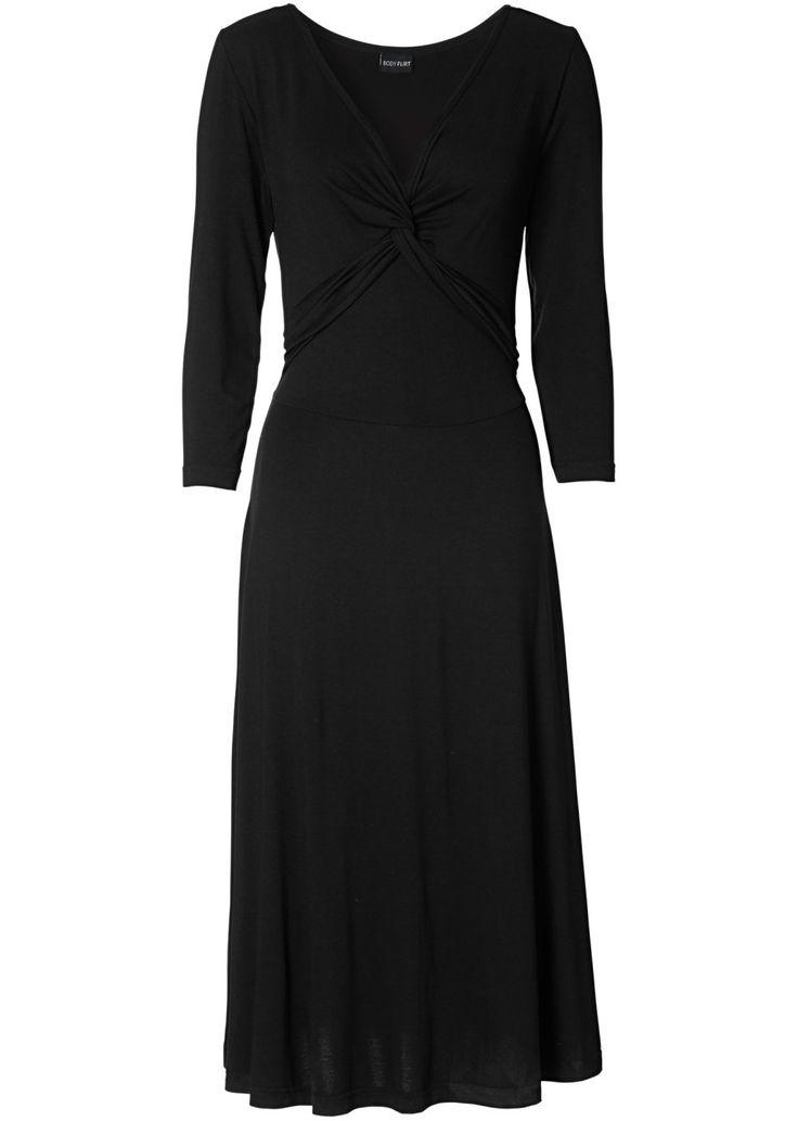 Bekijk nu:Elegante jurk met 3/4-mouwen, een diepe V-hals en een mooie knoop met plooitjes onder aan het decolleté. Nauwsluitend bovenpandje. Lengte ca. 108cm.