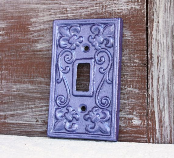 Light Switch Cover, Purple Switchplate Cover, Lightswitch Plate, Metallic Purple Amethyst Metal Cast Iron Purple Wall decor, Nursery Decor