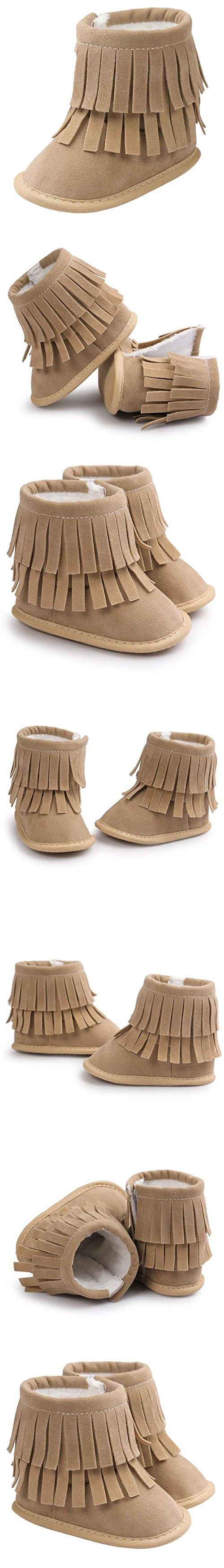 Voberry Baby Toddler Girls Boys Winter Warm Snow Boot Tassels Trimmed Boots Outdoor (12~18Month, light Khaki)