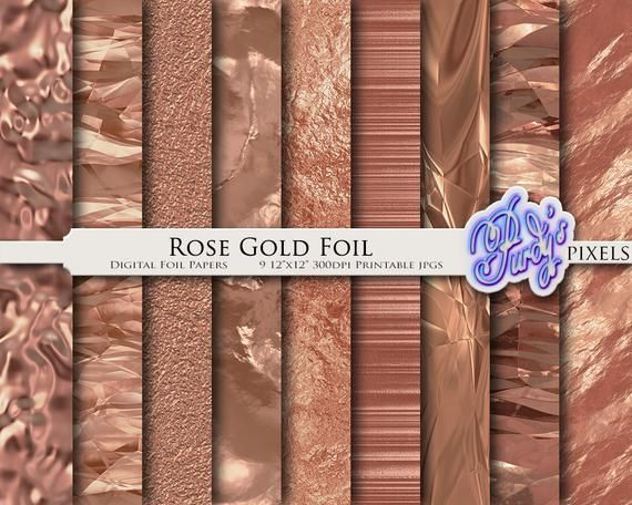 photograph regarding Printable Foil Paper titled Electronic Rose Gold Foil Paper Pack - 9 Seamless Steel Rose